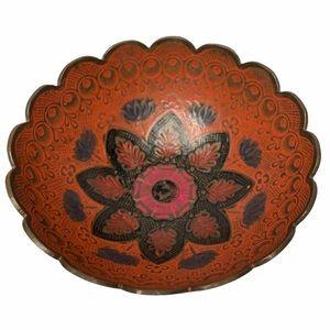 VTG Mandala Brass Enamel Cloisonné Fotted Bowl